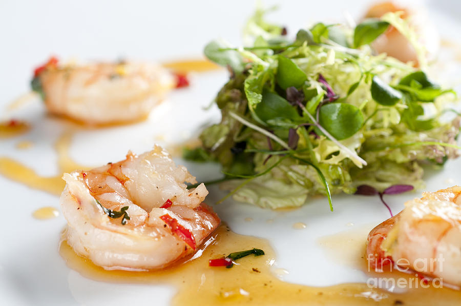 Prawn Photograph - King Prawns Ginger Chilli And Coriander Starter Presented On A White Background by Andy Smy