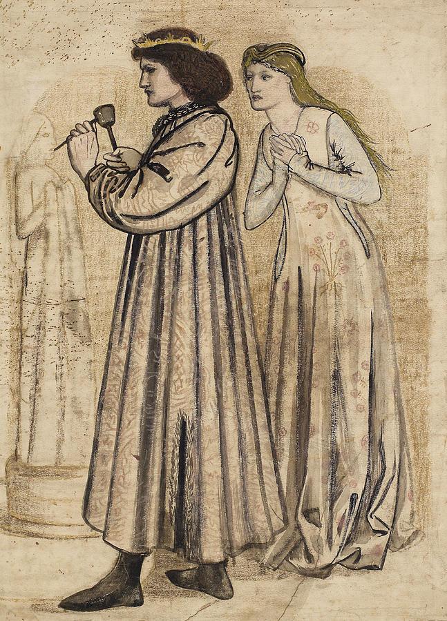 Burne-jones Drawing - King Renes Honeymoon by Edward Burne-Jones