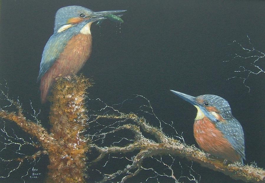 Birds Painting - Kingfishers by Ken Boot