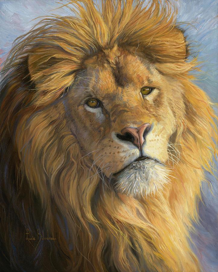 Lion Painting - Kings Gaze by Lucie Bilodeau