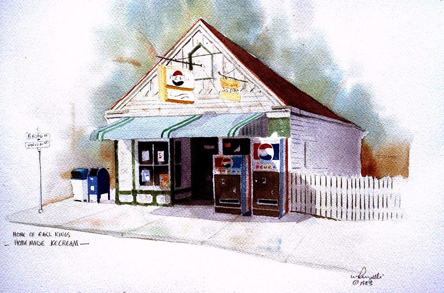 Watercolor Painting - Kings Ice Cream by William Renzulli