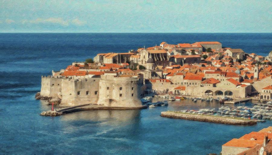 Waterscape Painting - Kings Landing Dubrovnik Croatia - Dwp512798 by Dean Wittle
