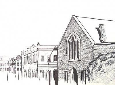 Limestone Drawing - Kingston Limestone Street In Black And White  by Suzanne Berton