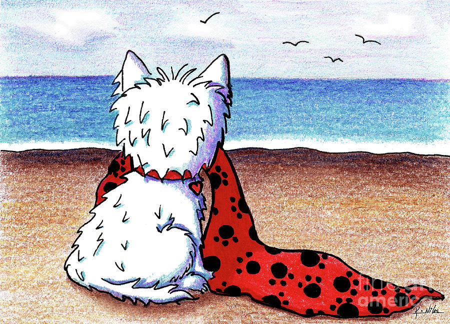 Westie Drawing - Kiniart Beach Blanket Westie by Kim Niles