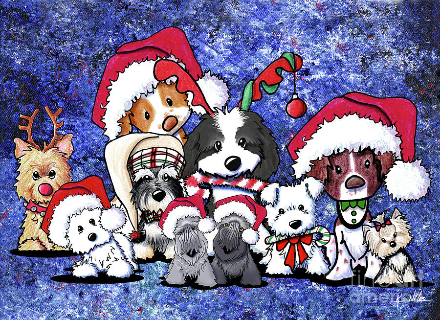 Christmas Drawing - Kiniart Christmas Party by Kim Niles