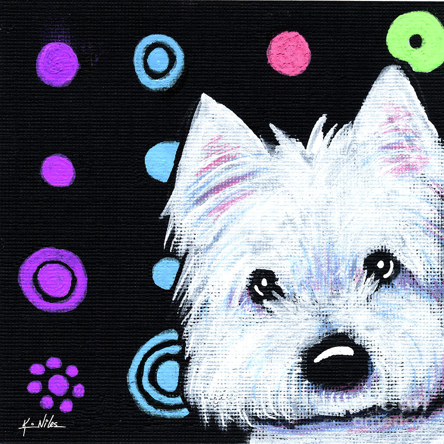 Westie Painting - Kiniart Disco Westie by Kim Niles