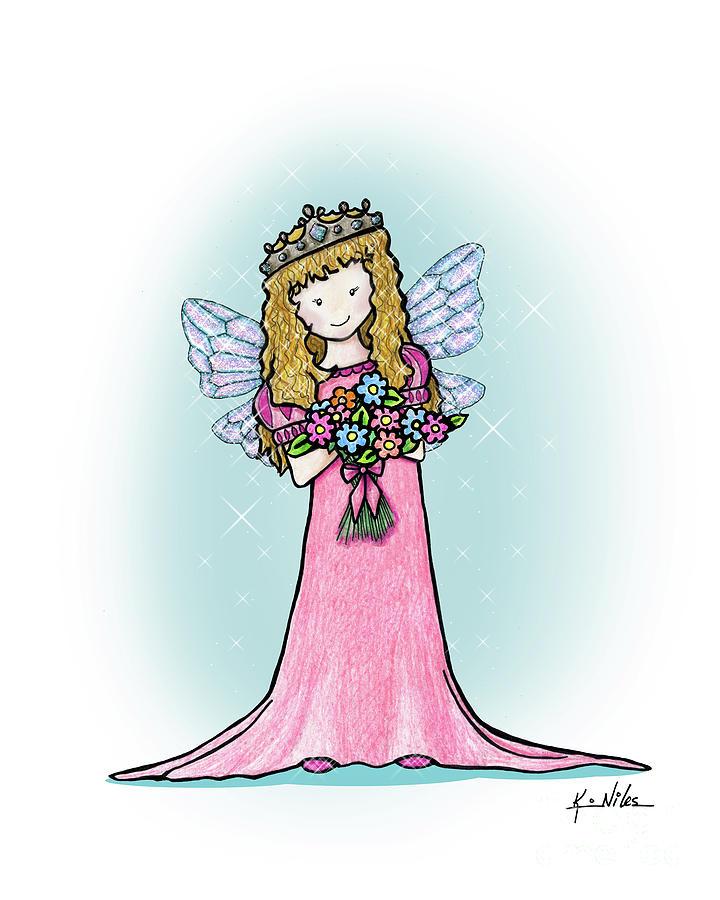 Princess Drawing - Kiniart Faerie Princess by Kim Niles