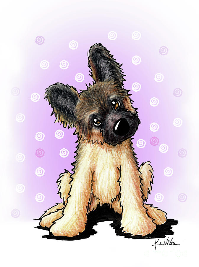 Shepherd Drawing - Kiniart Shepherd Puppy by Kim Niles
