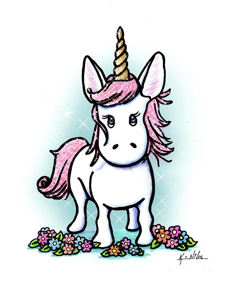Unicorn Drawing - Kiniart Unicorn Sparkle by Kim Niles