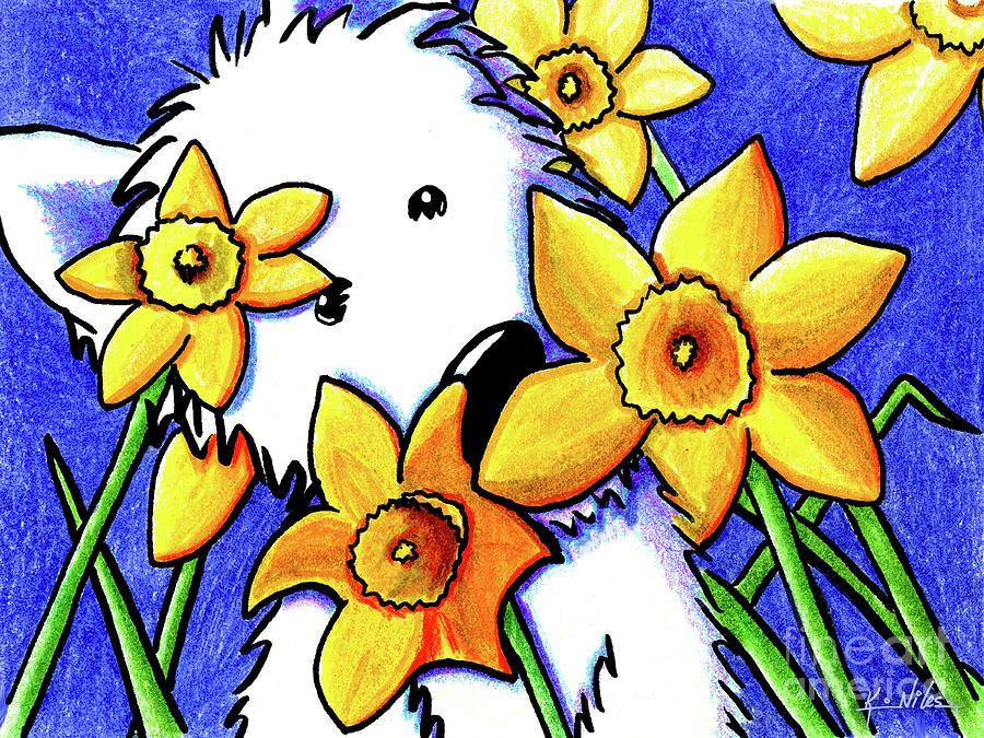 Westie Drawing - Kiniart Westie Daffodils by Kim Niles