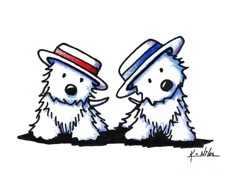 Westie Drawing - Kiniart Westie Dancing Duo by Kim Niles