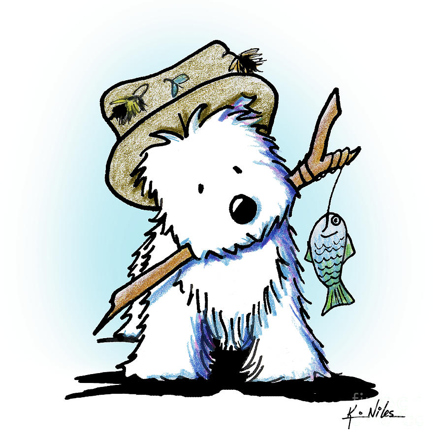Westie Drawing - Kiniart Westie Fisherman by Kim Niles