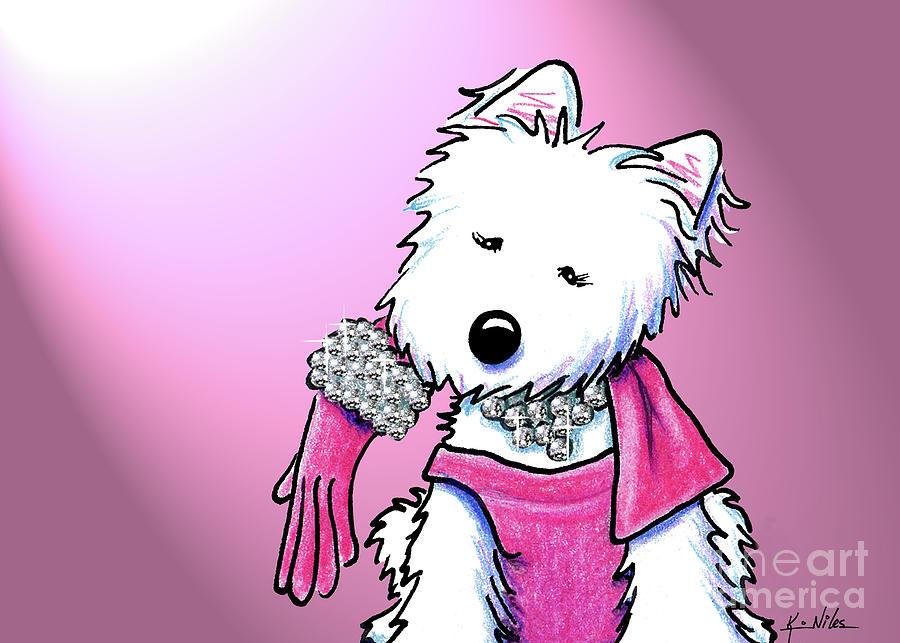 Glamorous Drawing - Kiniart Westie Glam by Kim Niles