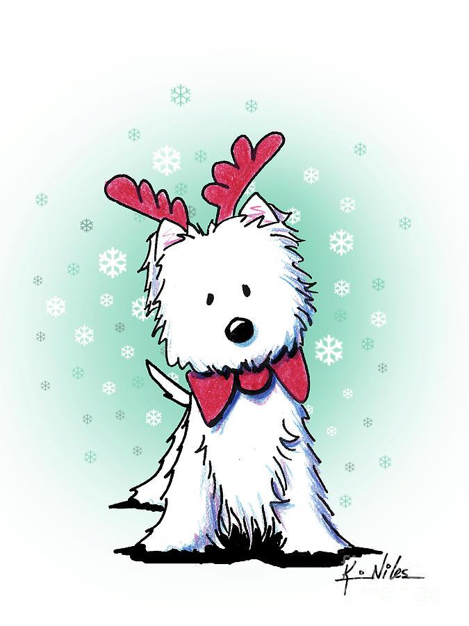 Westie Drawing - Kiniart Westie Reindeer by Kim Niles