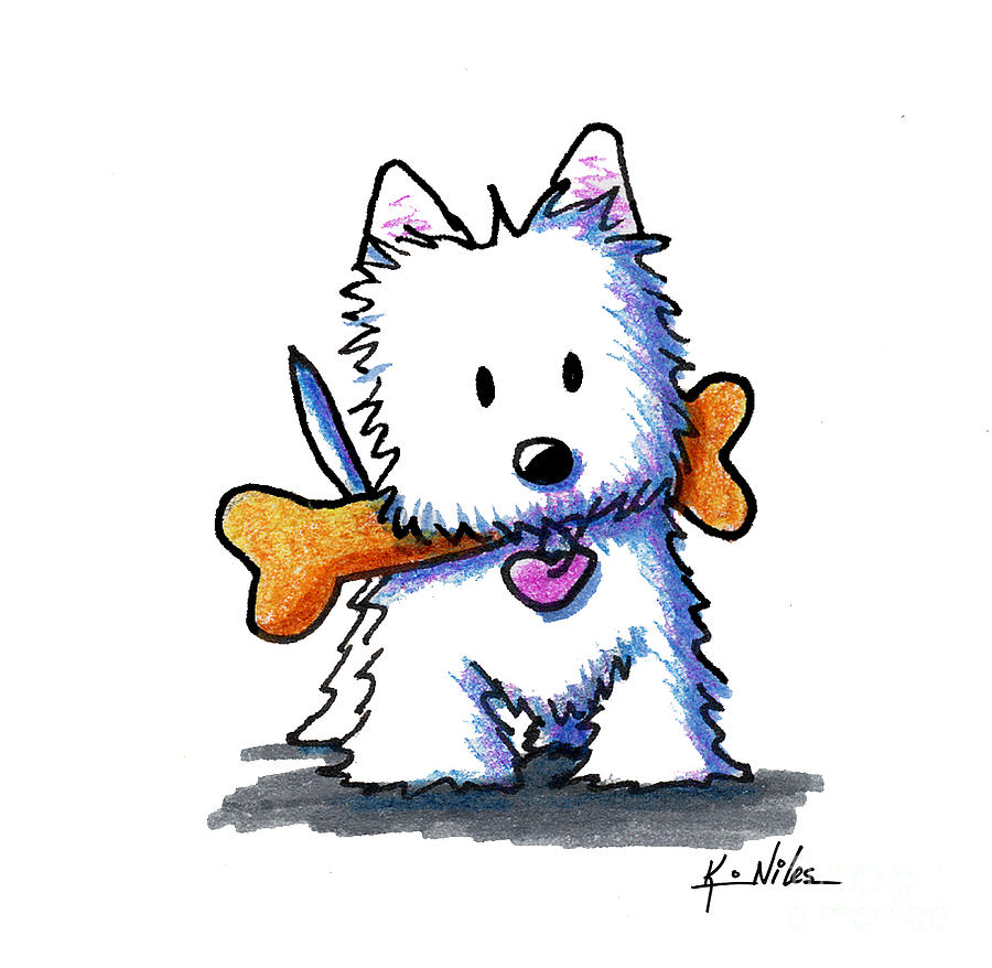 Kiniart Westie With Bone Drawing by Kim Niles