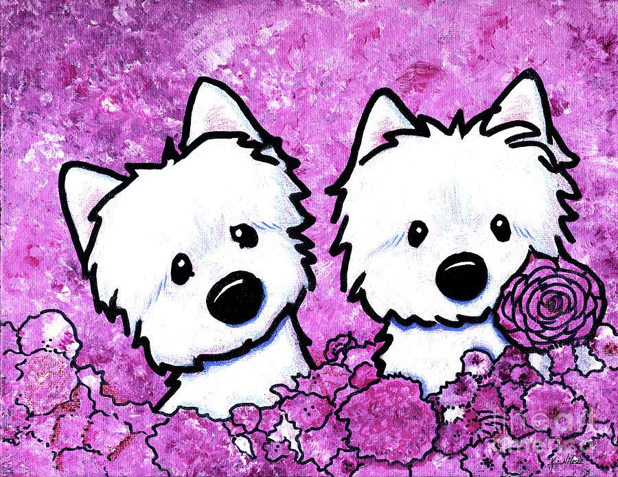 Westie Painting - Kiniart Westies In Flowers by Kim Niles