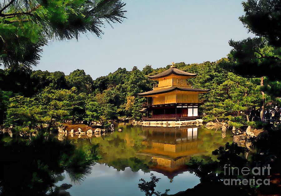 Kinkakuji Photograph - Kinkakuji-gold Pavilion by Linda  Parker