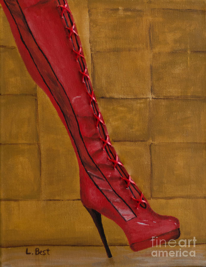 Mixed Media Painting - Kinky Boot by Laurel Best