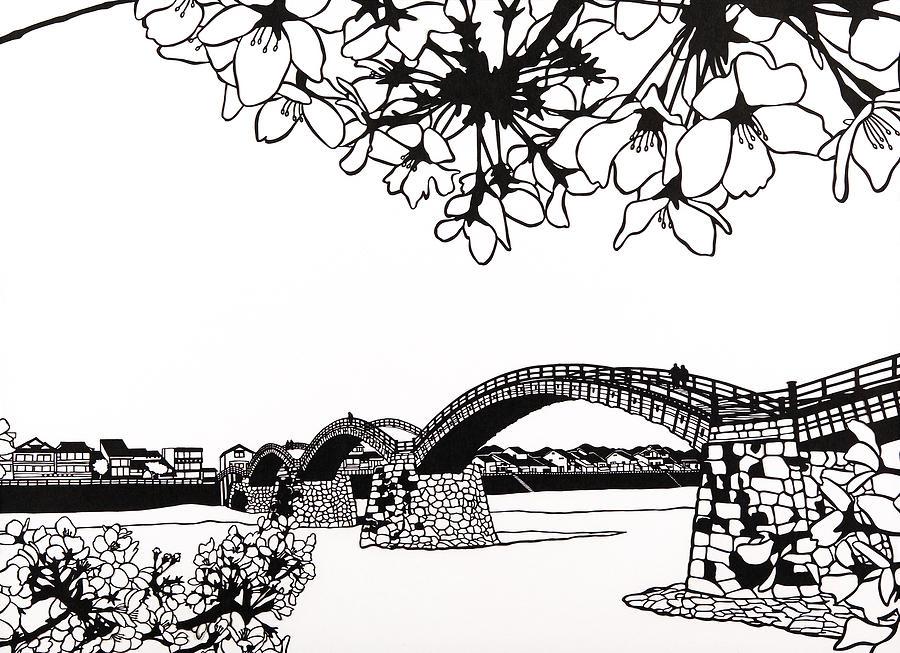 Kintai Bridge, One of The Three Most Famous Japanese Bridges Mixed Media by Yuko Hayai