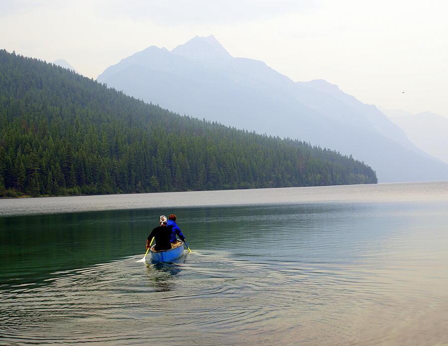 Mountains Photograph - Kintla Lake Paddlers by Marty Koch