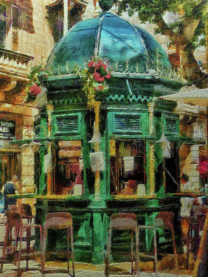 Cafe Digital Art - Kiosk Cafe, Valletta, Malta by Leigh Kemp