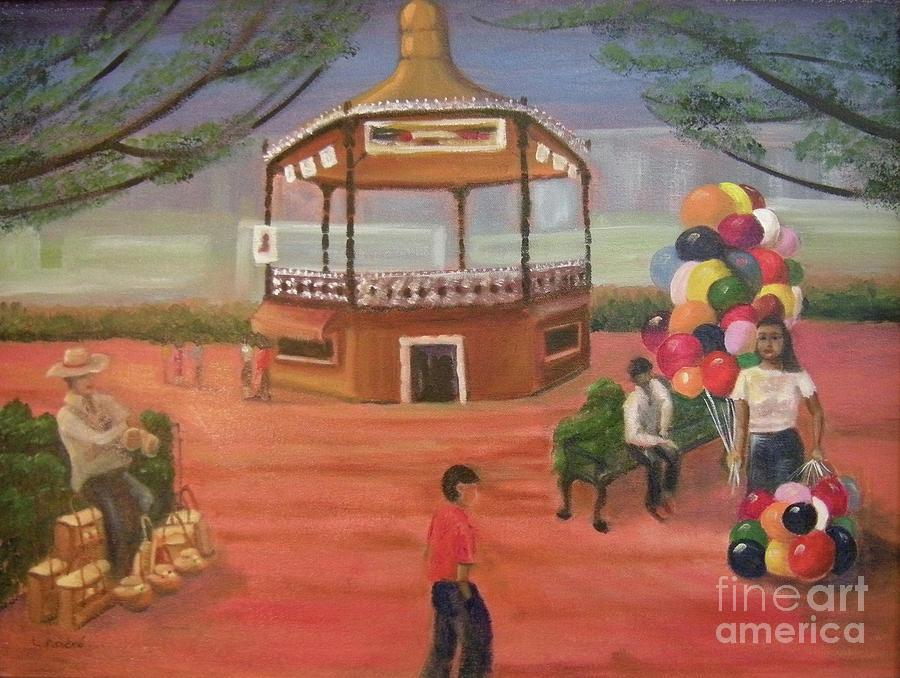 Mexico Painting - Kiosko y Globos by Lilibeth Andre