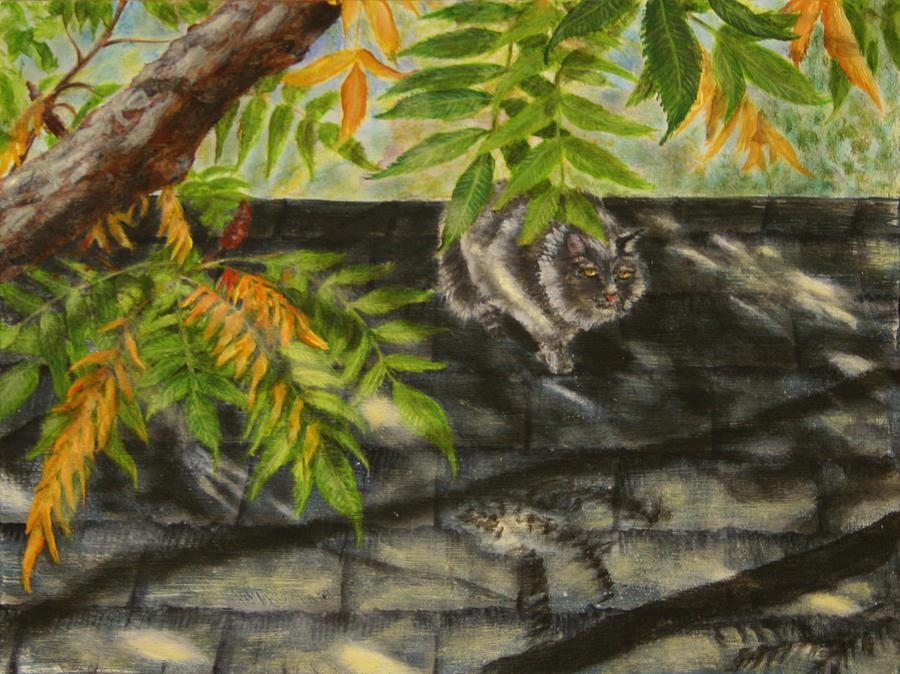Cat Painting - Kirby Stalking by Karen Peterson