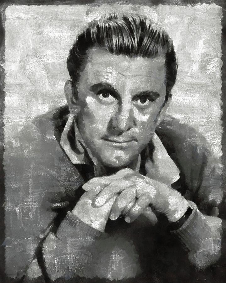 Hollywood Painting - Kirk Douglas Hollywood Actor by Mary Bassett