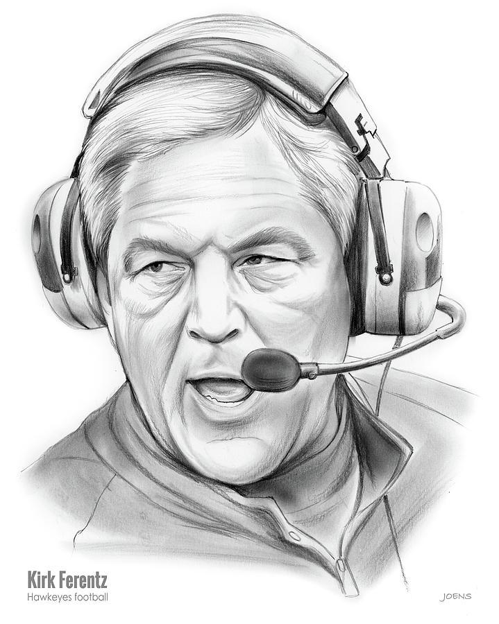Iowa Drawing - Kirk Ferentz by Greg Joens