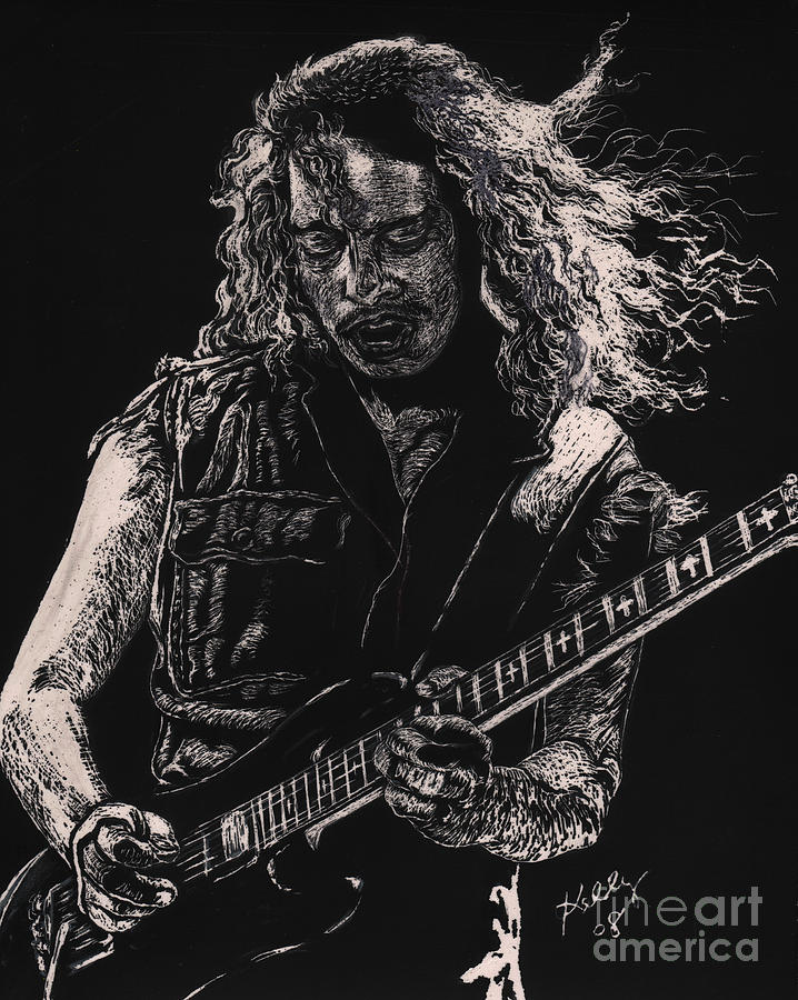 Heavy Metal Posters Drawing - Kirk Hammett by Kathleen Kelly Thompson