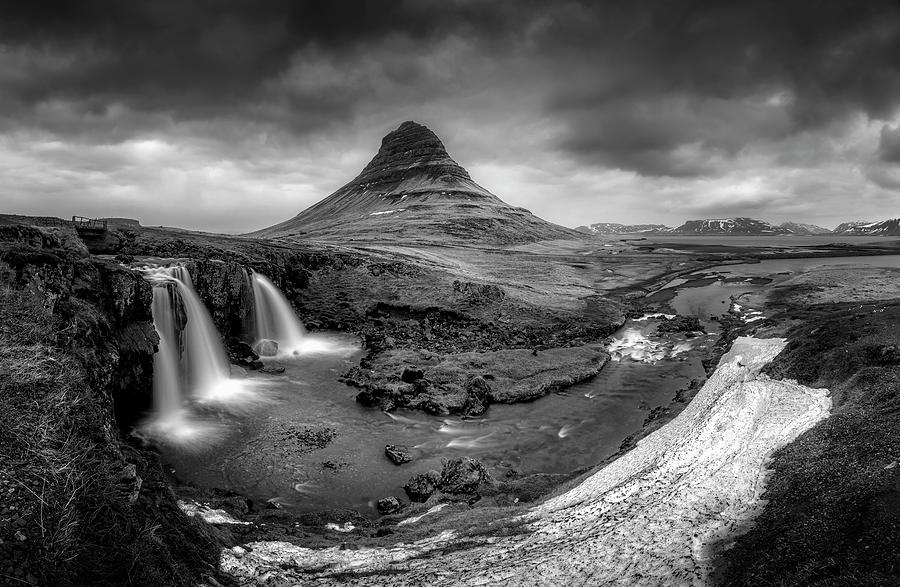 Iceland Photograph - Kirkjufellsfoss Dawn Monochrome  by Glen Sumner