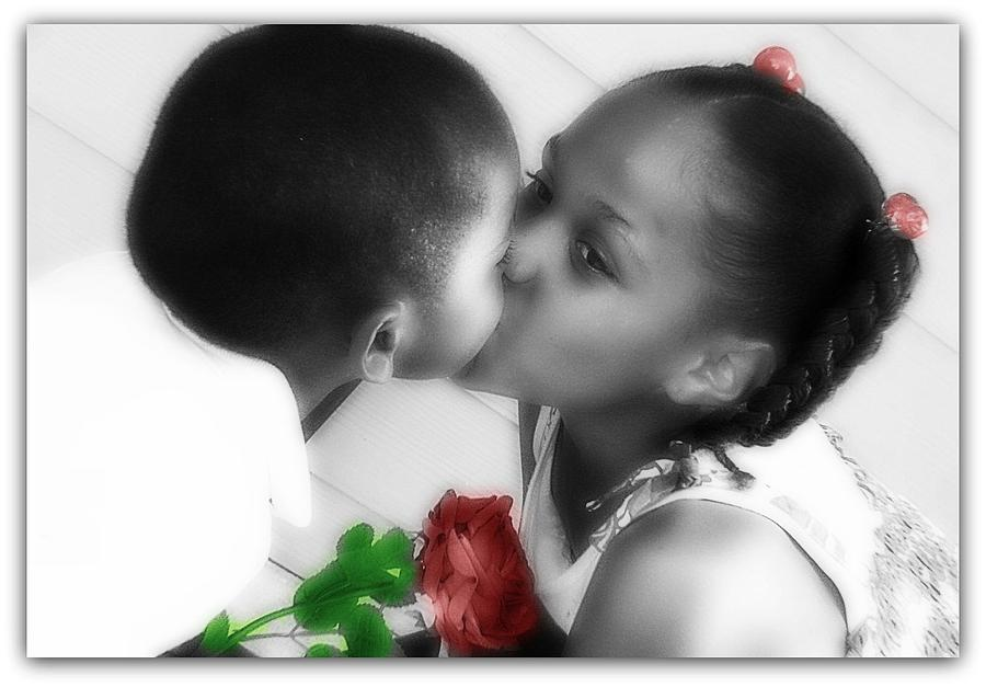 Portrait Photograph - Kiss For My Little Brother by Vanessa Reed