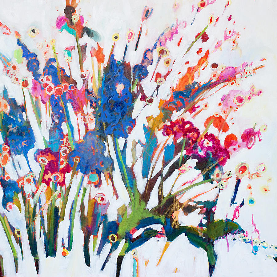 Contemporary Floral Painting - Kiss Goodbye by Susan Scoggins