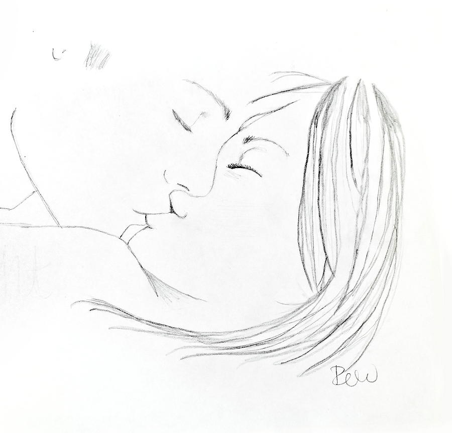 Line Drawing Kiss : Kiss me goodnight without quote drawing by rebecca wood