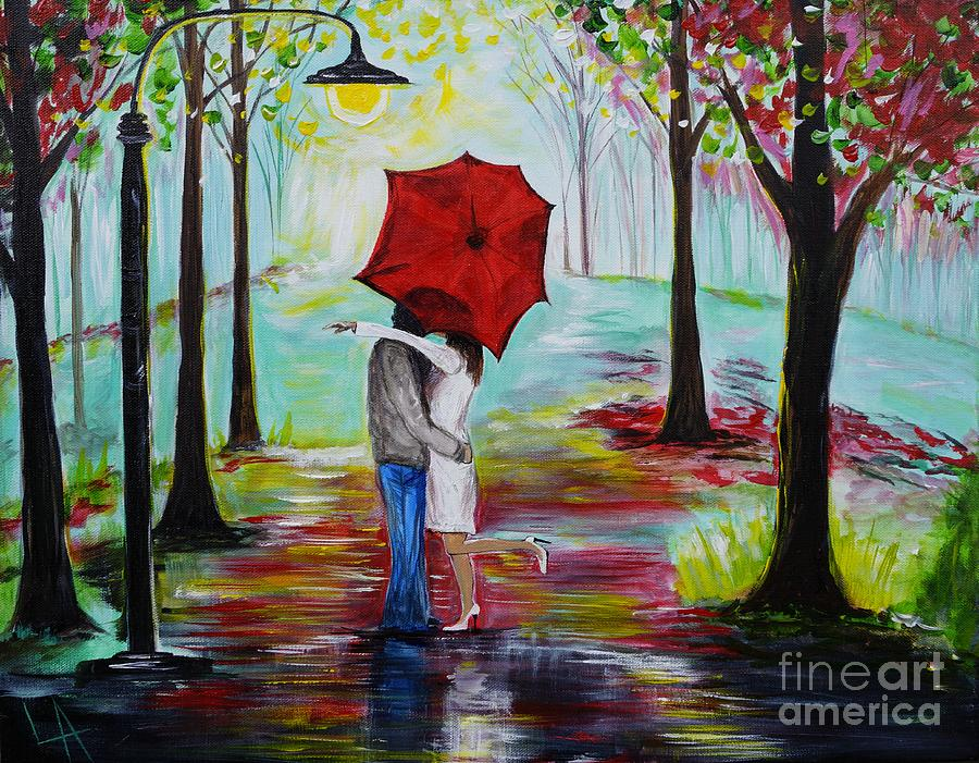 Couple Painting - Kiss Me In The Rain by Leslie Allen