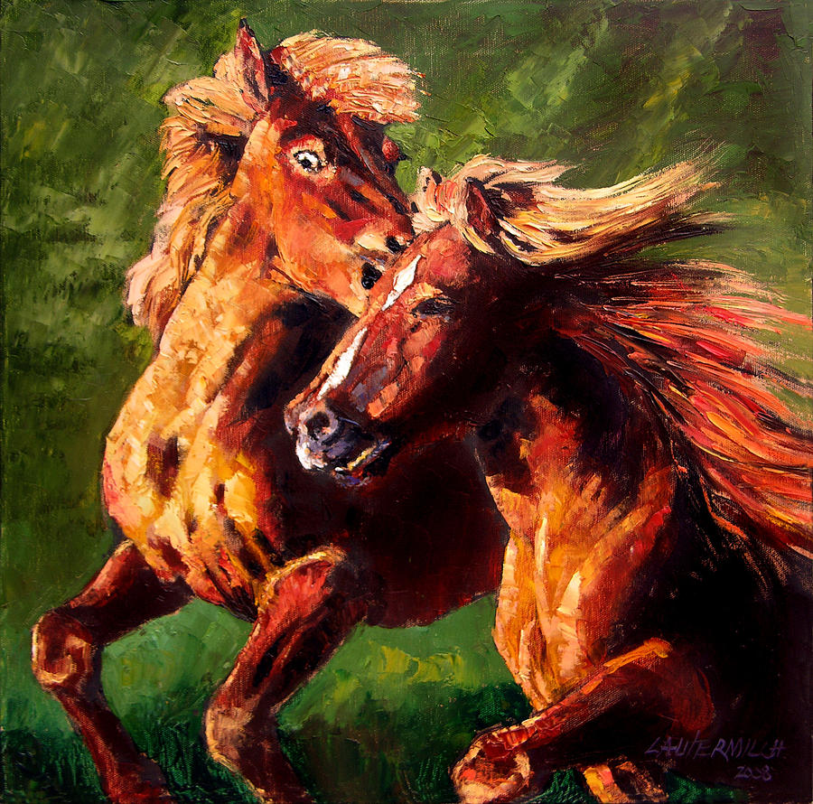 Horses Running Painting - Kiss on the Run by John Lautermilch
