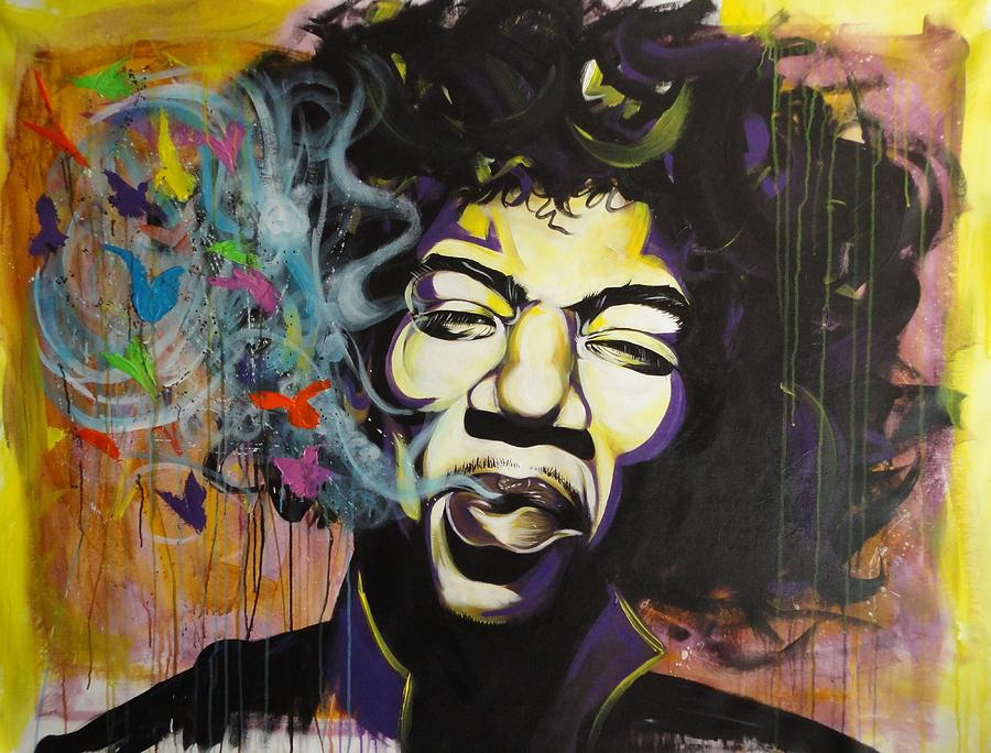 Jimi Hendrix Painting - Kiss The Sky  by Aramis Hamer