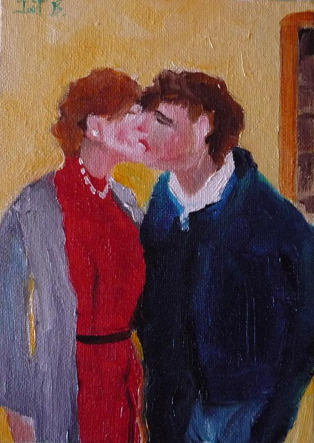 Figurative Painting - Kiss Time by Irit Bourla