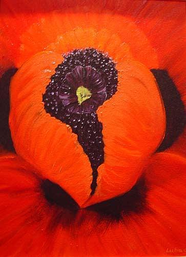 Floral Painting - Kissas Poppy by Luba Sterlikova