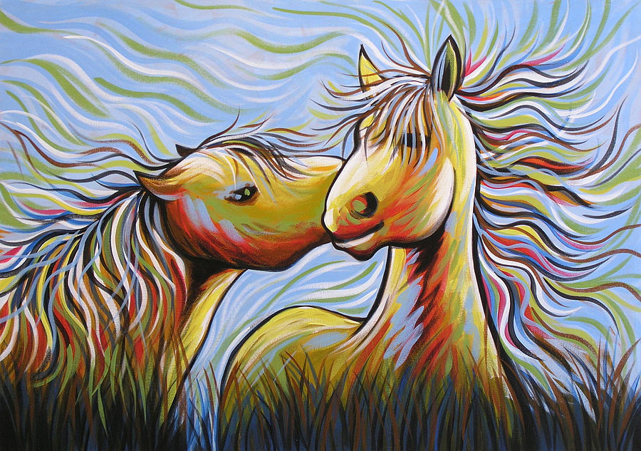 Horses Painting - Kisses by Amy Giacomelli