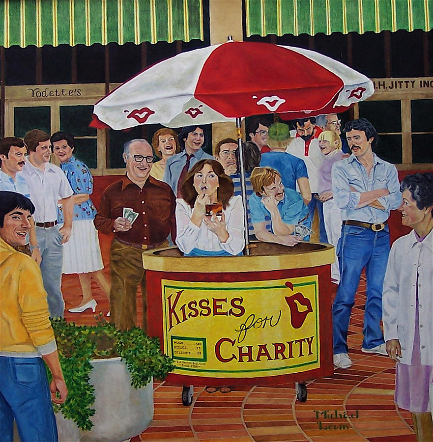 Illustration Painting - Kisses For Charity by Michael Lewis