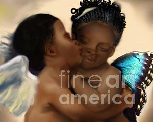 Kissing Angels Digital Art by Grenette Gillespie