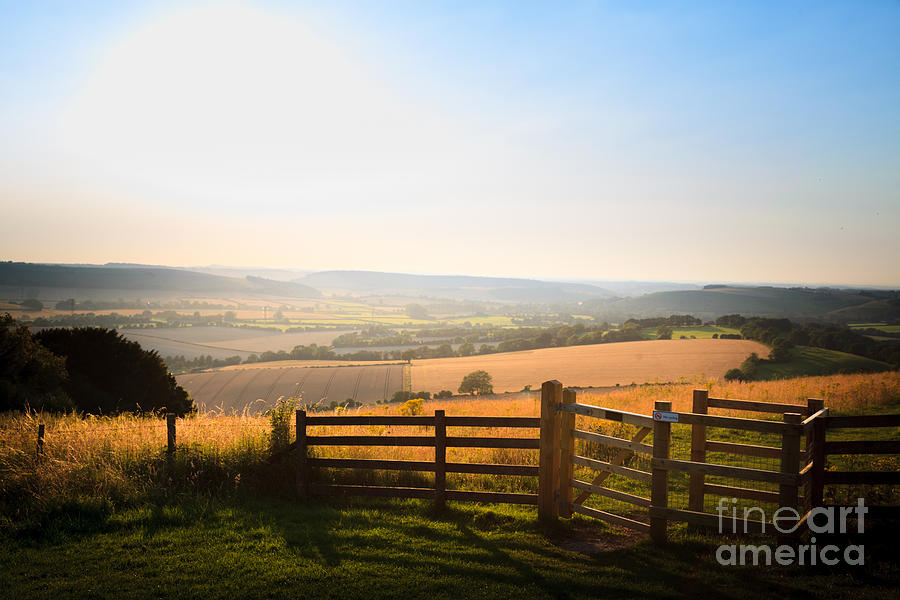 kissing gate entrance in fence  to Butser Hill with view of Sout by Peter Noyce