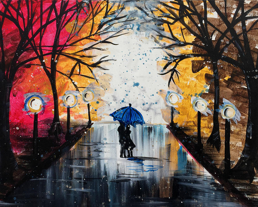 kissing in the rain painting by amanda hunter