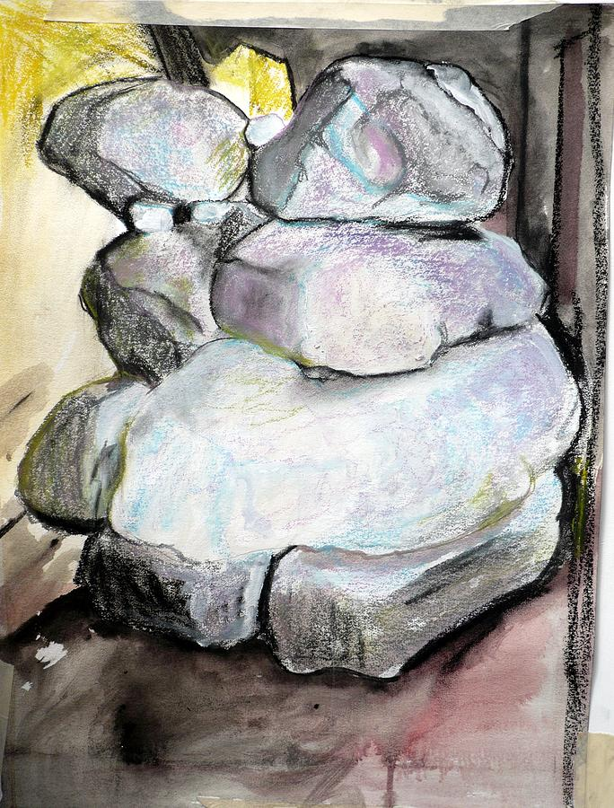 Charcoal Pastel - Kissing Rocks by Jane Clatworthy