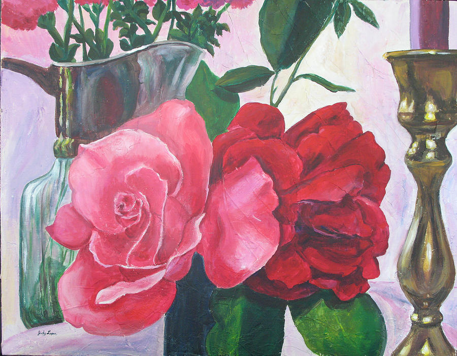 Roses Painting - Kissing Roses by Judy Loper