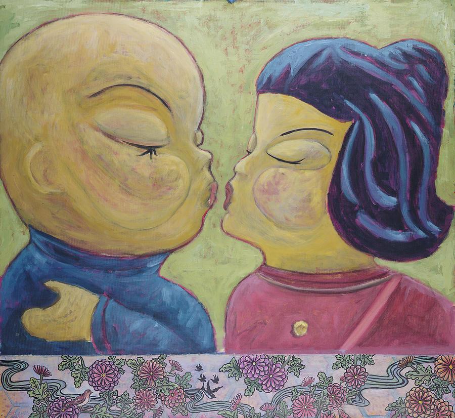 Japanese Painting - Kisu  by Pegeen  Shean