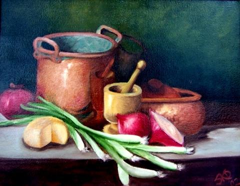 Still Life Painting - Kitchen Copper  Sold by Susan Dehlinger