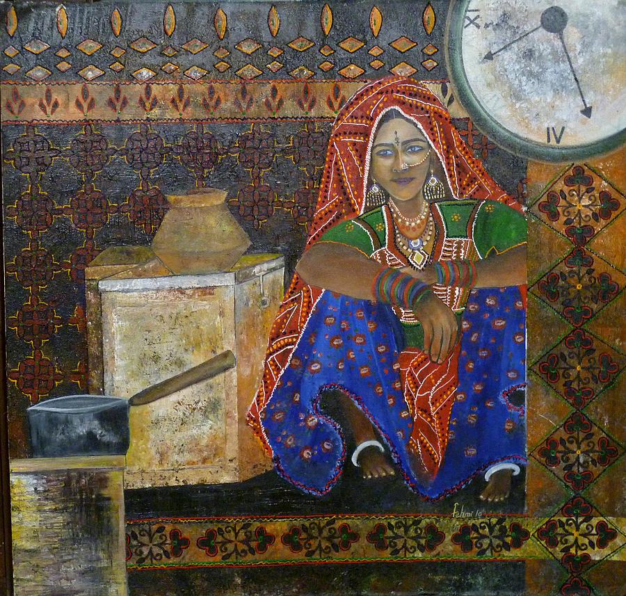 People Painting - Kitchen Flower by Fehmida Haider