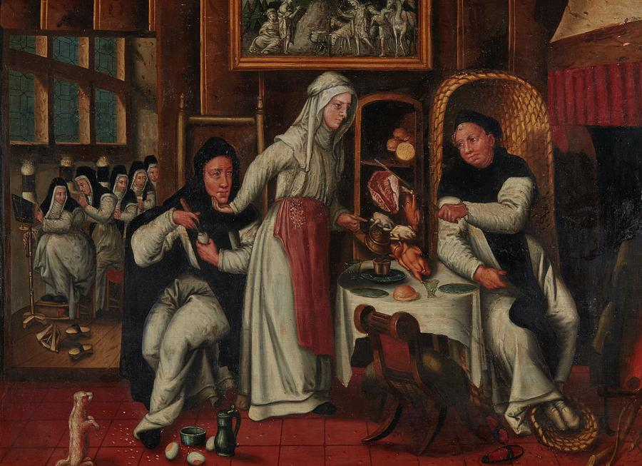 Flemish School Painting - Kitchen In A Convent by MotionAge Designs